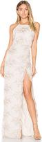 Donna Mizani Embroidered Square Neck Gown in Beige