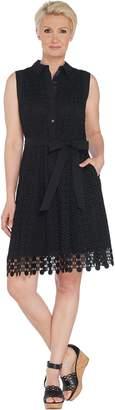 Isaac Mizrahi Live! Eyelet Shirt Dress with Lace Trim