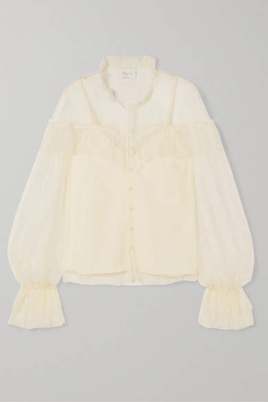 Alice McCall Just Right Ruffled Point D'esprit Tulle Blouse - Cream