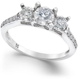 Macy's Diamond 3-Stone Engagement Ring (1/2 ct. t.w.) in 14k White Gold