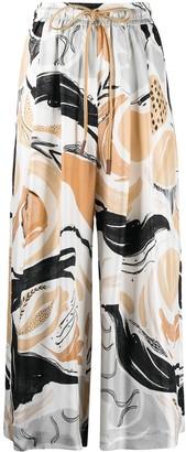 Alysi Swan Rhapsody-print wide-leg trousers