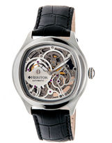 Heritor Automatic Odysseus Mens Skeleton-Dial Leather-Silver Tone Watch