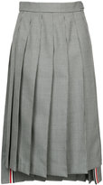 Thom Browne Below Knee Dropped Back Pleated Skirt In School Uniform Houndstooth Twill
