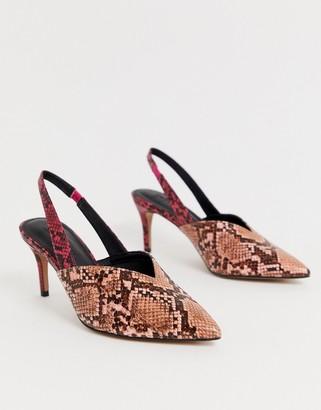 Asos Design DESIGN Savannah slingback kitten heels in mixed snake-Multi