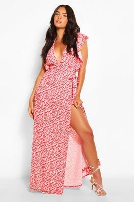 boohoo Floral Print Woven Ruffle Sleeve Wrap Maxi Dress