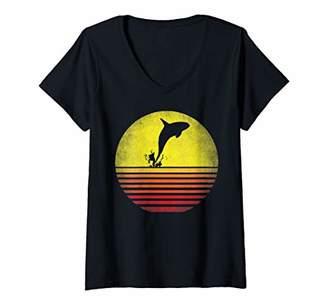 Orca Womens Killer Whale TShirt Vintage Lover V-Neck T-Shirt