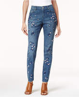 Style and Co Embroidered Curvy Skinny Jeans, Created for Macy's