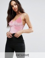 Club L Cami Strap Velvet Bodysuit