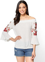 New York & Co. Embroidered Off-The-Shoulder Top