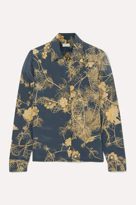 Dries Van Noten Cakool Floral-print Silk Crepe De Chine Shirt - Dark gray