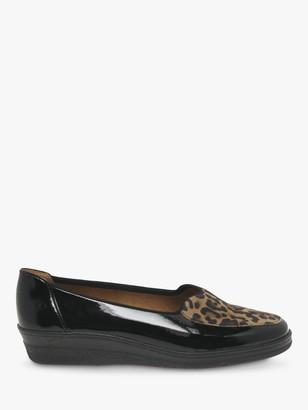 Gabor Blanche Wide Fit Patent Leather Leopard Print Ballet Pumps, Black