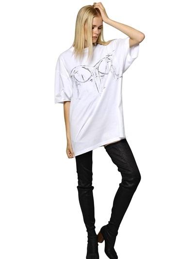 Maison Martin Margiela Bustier Printed Cotton Jersey T-Shirt