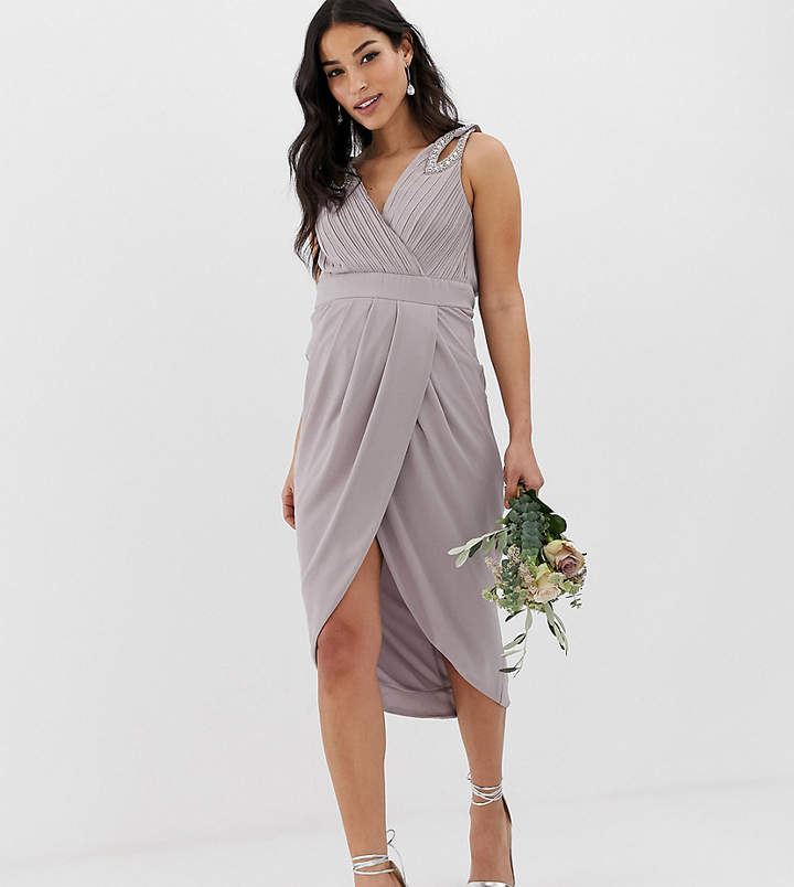 TFNC Maternity Maternity bridesmaid exclusive wrap midi dress with embellished shoulder in gray
