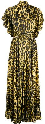 Just Cavalli leopard-print pussy bow dress