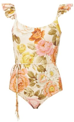 Zimmermann Bonita Frilled Floral-print Swimsuit - Womens - Cream Print