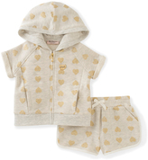 Juicy Couture Tan & Gold Heart Hoodie & Shorts - Toddler & Girls