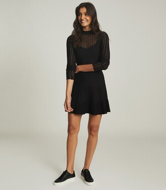 Reiss Clemmy - Sheer Stripe Knitted Dress in Black