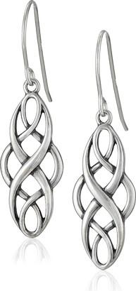 Celtic Sterling Silver Oxidized Knot Dangle Earrings