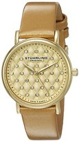 Stuhrling Original Women's Quartz Watch with Gold Dial Analogue Display and Gold Leather Strap 799.03