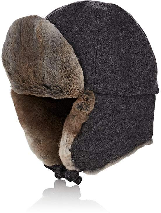 Crown Cap Men's Fur-Trimmed Melton Aviator Hat