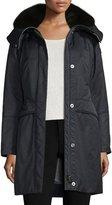Peuterey Hooded Belted Fur-Trim Parka, Navy