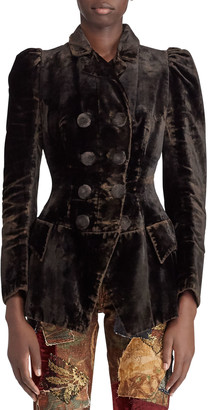 Ralph Lauren 50th Anniversary Bettie Double-Breasted Velvet Jacket w/ Puff-Sleeves