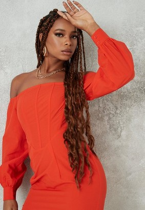Missguided Orange Bardot Corset Detail Mini Dress
