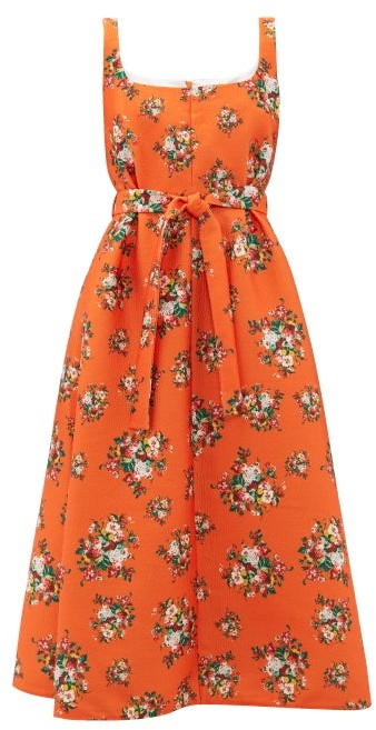 Emilia Wickstead Shelly Floral Print Cloque Dress - Womens - Orange Multi