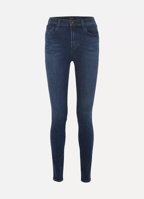 "J Brand Carolina 32"" High-rise Skinny Jeans - Dark denim"