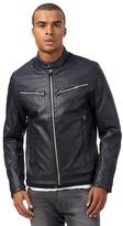 G-star Raw Navy Zip Through Leather-like Jacket