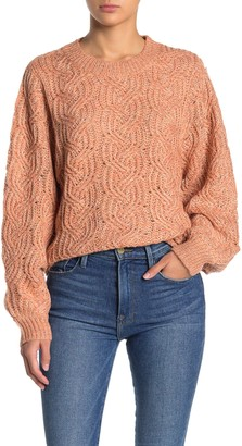 Lush Marled Cable Knit Pullover Sweater