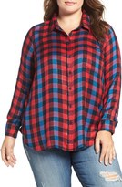 Lucky Brand Back Overlay Plaid Shirt (Plus Size)