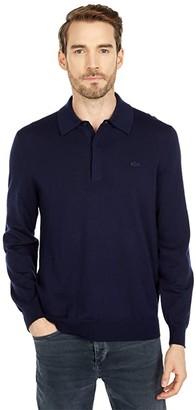 Lacoste Long Sleeve Solid Jersey 1/4 Zip Sweater (Sinople) Men's Clothing