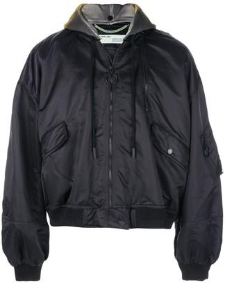 Off-White Oversized Hooded Bomber Jacket