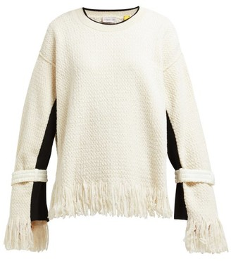Moncler 2 1952 - Fringed Cotton Blend Sweater - Womens - Cream
