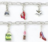Born To Shop Silver-Plated T-Bar 19cm Bracelet With 6 Charms And A T-Bar Clasp