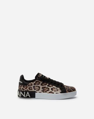 Dolce & Gabbana Portofino Sneakers In Leopard-Print Calfskin Nappa