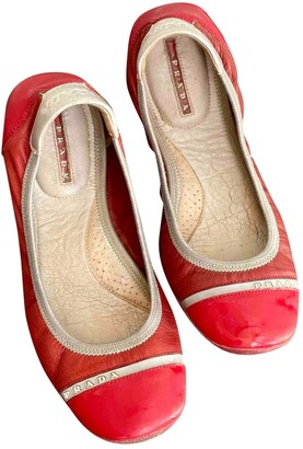 Prada Red Leather Ballet flats