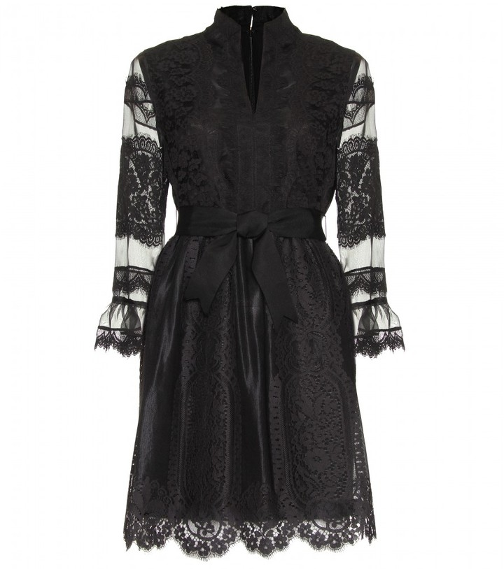 Anna Sui LACE DRESS WITH RIBBON TIE