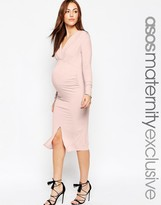 Asos GAMZE Ruched Midi Dress With Long Sleeves And Split