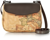 Alviero Martini Small Geo Print Coated Canvas and Leather Crossbody Bag