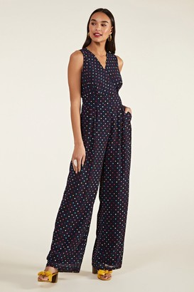 Yumi Multi Spot Print Cross-Over Jumpsuit