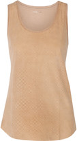Majestic Perforated leather and cotton tank