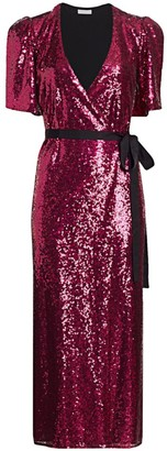 ML Monique Lhuillier Sequin Wrap Midi Dress