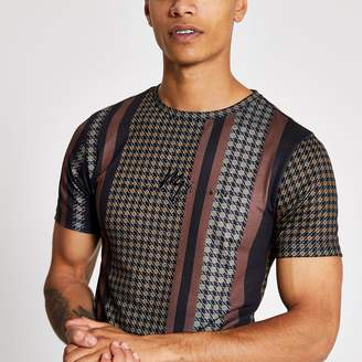 River Island Mens Maison Riviera Brown check muscle fit T-shirt