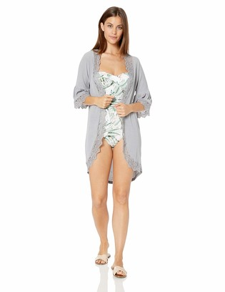 Forsix Women's Ruffle Bell Sleeve High Low Kimono Cardigan Cover up Grey S