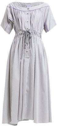 Thierry Colson Tania Striped Midi Dress - Womens - Grey Print