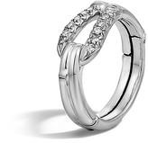 John Hardy Bamboo Silver Diamond Hook Ring
