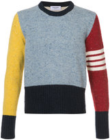 Thom Browne Crewneck Pullover With 4-Bar Stripe In Funmix Wool