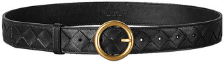 Bottega Veneta Leather Belt in Black & Gold | FWRD